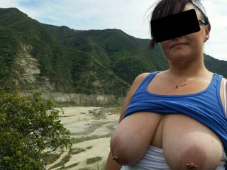 Took a drive into the canyon with Vixxxen, decided to get out and walk a short trail. Needless to say, a fam nearly caught us taking this pic..Vixxxen hugged me to quickly hide her huge tits so we weren't rude lol! Love my lil ' exhibitionist!