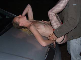 Joanne enjoying our friend fucking her on the bonnet of our car
