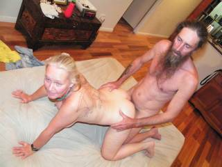 Jim pumping me hard and deep doggy  any ladies couples or bi people game to join us???