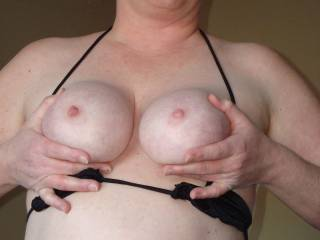 I love my Cutiepie's body... She has the best tits for feeling, fucking, sucking and licking and cumming on. What do you think... Wouldn't you just love to spill your load all over these?
