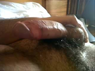 My hairy cock growing up while touching myself and giving a massage to my balls too!