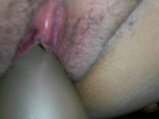 Fucking wife's little pussy hole with huge Toy