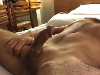 fingering and squeezing my balls