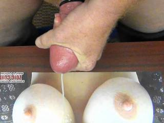 Stroking and shooting my hot cum on eleventynine sweet, tasty, big tits!