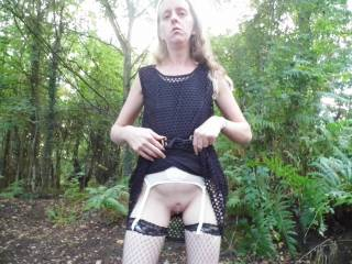 Joanne flashing in the car park of some local woods