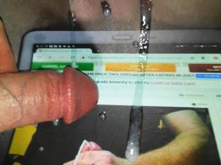 Kallie\'s delicious tasty pussy had me stroking my rock hard dick soo good I had to cum on her wet pussy! Her reward for the cock tribute picture she made for my cumload!