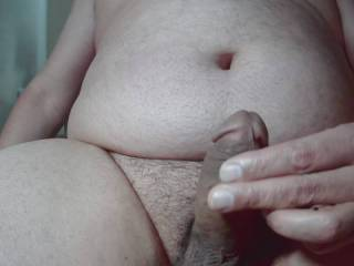 Fat man jerking his tiny little penis first time on cam