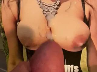 This sexy woman asked for a video of me jacking off to her big tits and I just had to do her and she loved it kinky  I loved the cum  blast