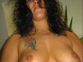 very hot and sexy....your have lovely breasts and wonderful nipples....I would love to lick,suck and nibble your nipples while playing with your breasts and I would love to slide my hard cock between them.....Nice tattoo.....It took me a bit to see it...