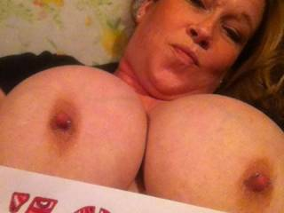 Wonderful, really... And instant hard-on here!  I could slap those plum beauties with my hard cock like there's no tomorrow... And empty my huge set of full balls onto that beautiful face. I would get you thoroughly splattered and drenched in hot cum, and that's a fact...  I wonder if you like the idea?