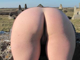great shot, your dotted skin showing how cold was the weather and your great pussy and ass in the other hand warms up the whole picture... :)