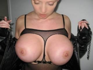 WOW! Big,beautiful tits! I love em! I wanna kiss em,lick em,nibble em,suck em,fuck em and cum all over those big beauties! May I?