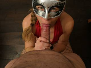 Wow she had me so hard her sexy eyes looking at me trying to suck my balls empty!! How long could you last like this?