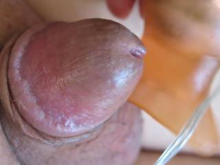 I caught my cute little cock playing with one of his toys again.    Look at him, he thinks he is so hot.