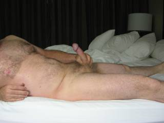 Wish I had someone to play with on this big hotel bed! Maybe you could think of something to do with my cock?