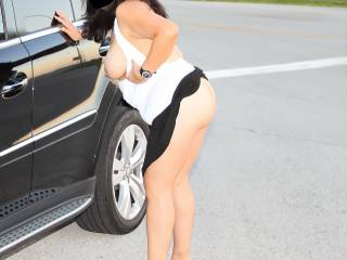 Just showing off my tits and ass on the side of the road!