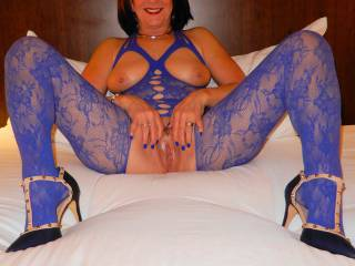 Just posing for hubby in my new blue outfit on his birthday in 2021