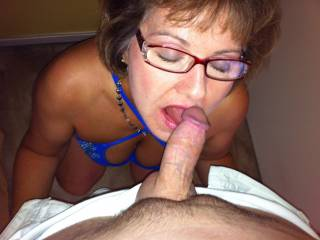 Mrs Seeker loves getting that young shaved cock on her tongue!