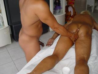 Gives new hotter meaning to deep tissue massage!!  Always very hot and horny after a deep tissue massage ready to join you for a full night of group fun with hands, tongues, and cocks ravaging all over that tight sexy gorgeous body!  Are you up for it...