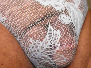 wearing some white lace panties