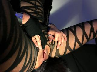 The hole is perfect to see my pussy. Do you like it?