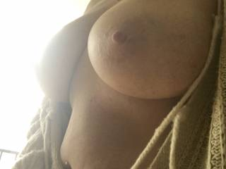 A little morning boob... ready for your mouth...
