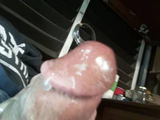 I had just finished stroking my cock in front of several people. We all got off on it.