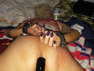 Knocked her out and fucked her ass over and over and filled it full of cum then plugged it for her to push out when she woke up and sample