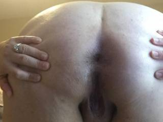 spreading my ass opened ready for hubby to slide his thick cock deep inside to pound me balls deep
