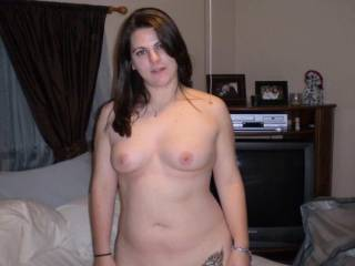 Very sexy lady, let me know next time he's away,  I just love your fantastic tits, they are gorgeous, and that's a horny expression on your face too, You are sooooo sexy!!