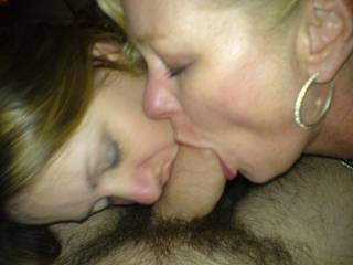 MMMMMMMM MMMMMMM I WOULD LOVE TO HAVE BOTH YOU BEAUTIFUL LADYS LICKING and SUCKING MY COCK LIKE THAT ANYTIME!!!!YOUR A LUCKY GUY!!