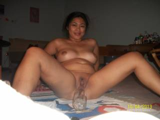 Actually, I want to take that bottle out of your beautiful pussy and slide my rock-hard dick IN!!