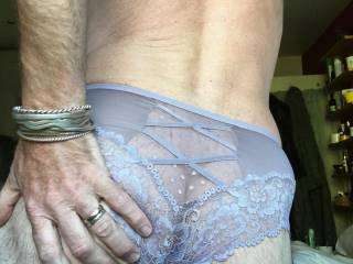I do love wearing my wife's panties. Lacy and sheer is best x Having my cock sucked till I cum through the wet fabric x