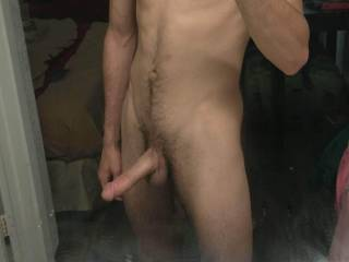 A sexy picture of a big dick and a nice body