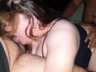 I love fucking her while she sucked my buddys cock! Would any ladies like to be in her spot with my friend and I? 🤔😉😈 I LOVED licking her from behind! 😍