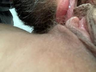I love licking her hairy pussy