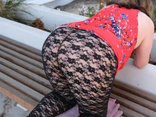 What do you think of my see-through lace leggings? I will wear this out to a party, see if they notice I don\'t wear panties