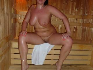 m m m....looks like fun.....you're looking very hot and slippery.....would love to join you in a hot, sweaty sauna!......get you sliding down my shaft and those amazing tits bouncing around!
