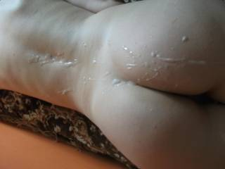 a wonderfully messy, arousing pic of such a stunning ass