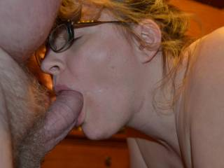 Why don't you just keep that cock in your mouth and let me get get behind you and slide my cock into your hot wet pussy