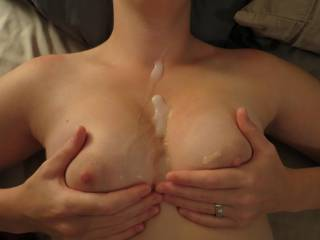 Huge load on my wife's tits