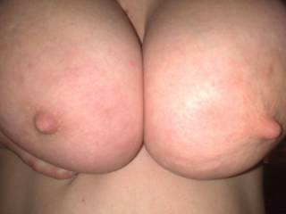 tits pushed together ready for my cock to slide inbetween