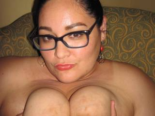 Love to blow my hot thick load all over her beautiful face and glasses after fucking her big beautiful tits!!