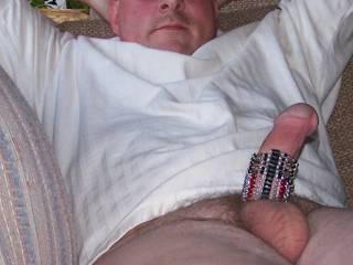 white    shirt      laying   back    willy    feeling    good