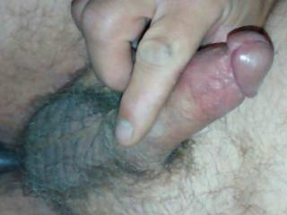 Love to stroke my small cock and tight balls for you to watch and comment .