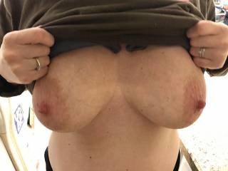 Wife showing me her big tits.