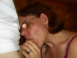 I just love his cock and love sucking it, I love it when he cums all over my face and glasses...do you like to see glasses covered in cum?