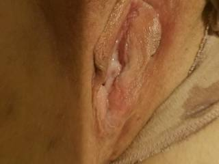 Can you see Kevin's cum leaking out of my pussy onto my panties? Want to add your cum to my pussy?