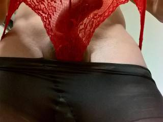 My cock in red undies...