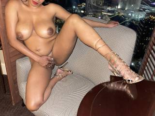 Just back from the club and putting on an exhibitionist show over the city for the horny guests. Don't you wish you were  there? Don't you want to pound my hot and tight pussy while enjoying the view of me and the city.